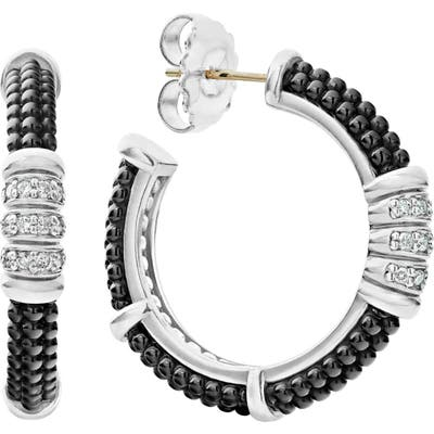Lagos Black Caviar Diamond 3-Row Hoop Earrings