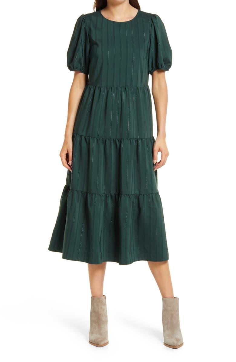 TREASURE & BOND Tiered Midi Dress, Main, color, GREEN DARK