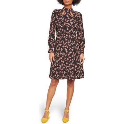 Modcloth Floral Long Sleeve Keyhole A-Line Dress, 2 (similar to 18W) - Black