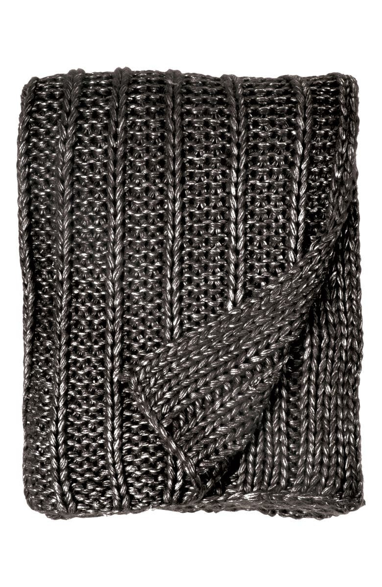 MICHAEL ARAM Metallic Rib Knit Throw, Main, color, CHARCOAL