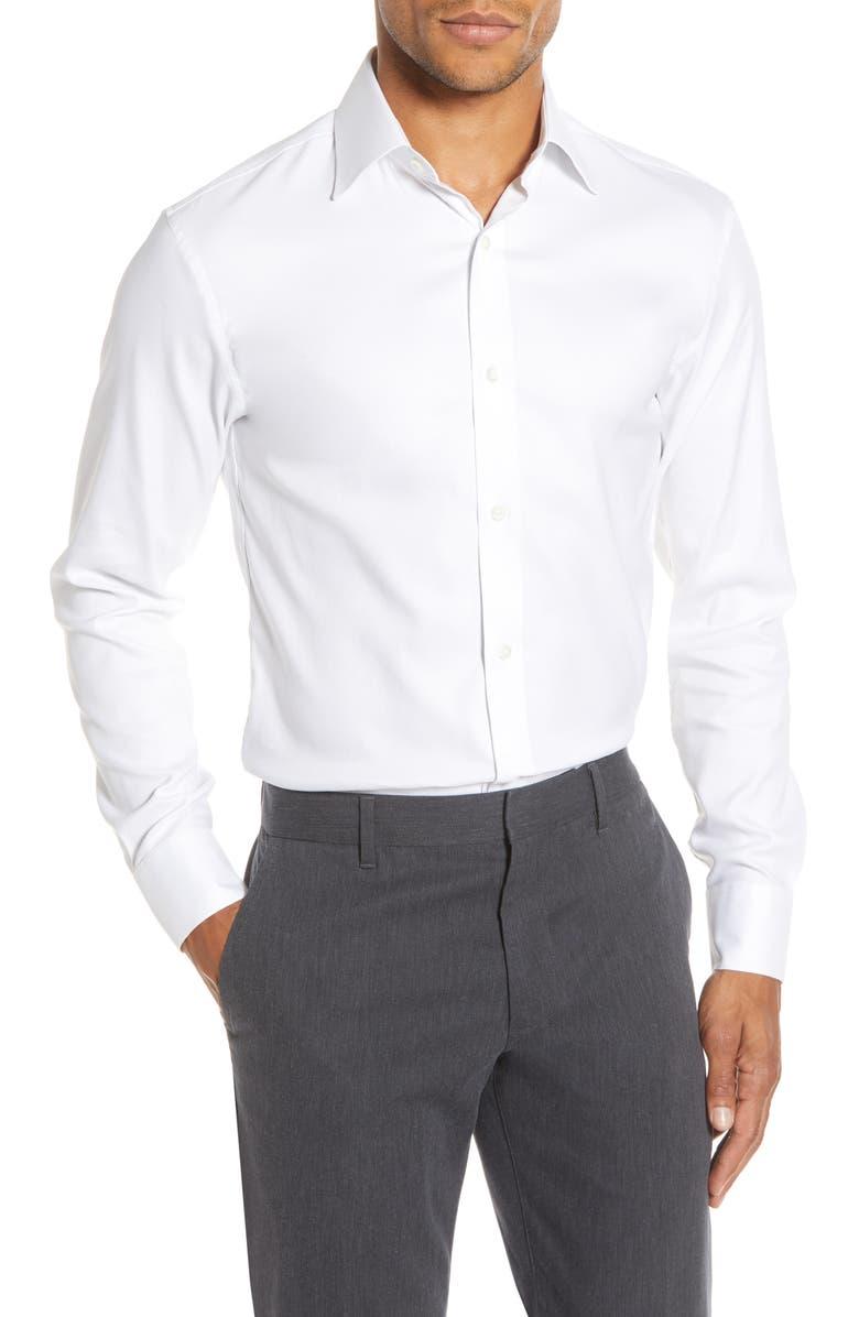BONOBOS Slim Fit Solid Twill Dress Shirt, Main, color, WHITE
