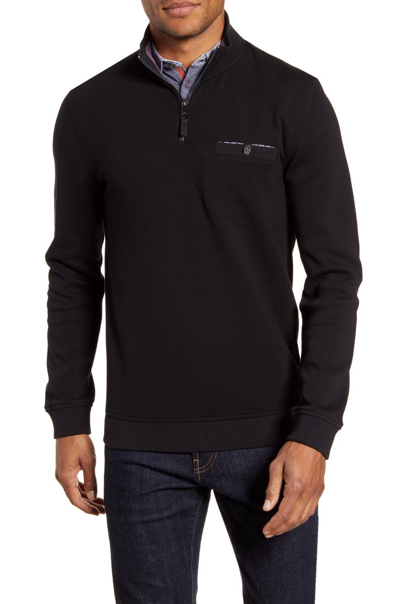 TED BAKER LONDON Curbing Slim Fit Quarter Zip Pullover, Main, color, BLACK