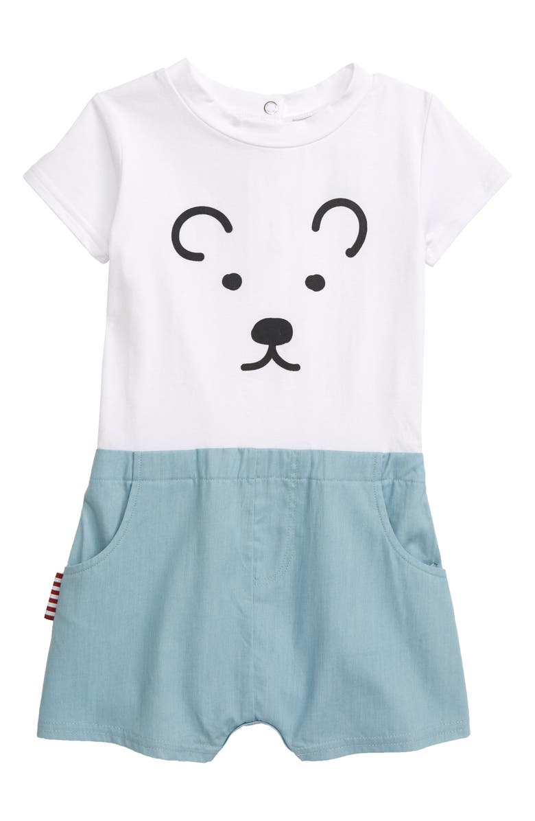 SOOKIBABY Bear Romper, Main, color, WHITE / CHAMBRAY