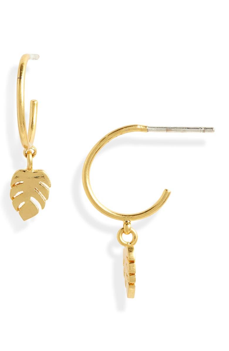 MADEWELL Palmleaf Charm Mini Hoop Earrings, Main, color, 710