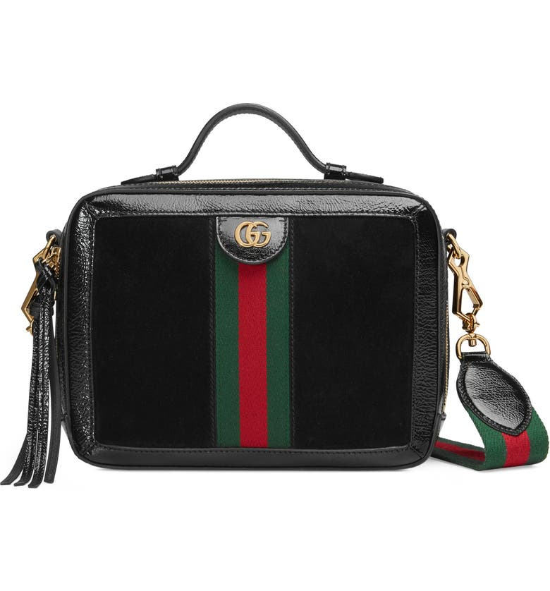 GUCCI Ophidia Suede & Leather Top Handle Bag, Main, color, 005
