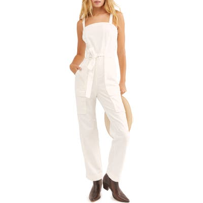 Free People Go West Utility Jumpsuit, White