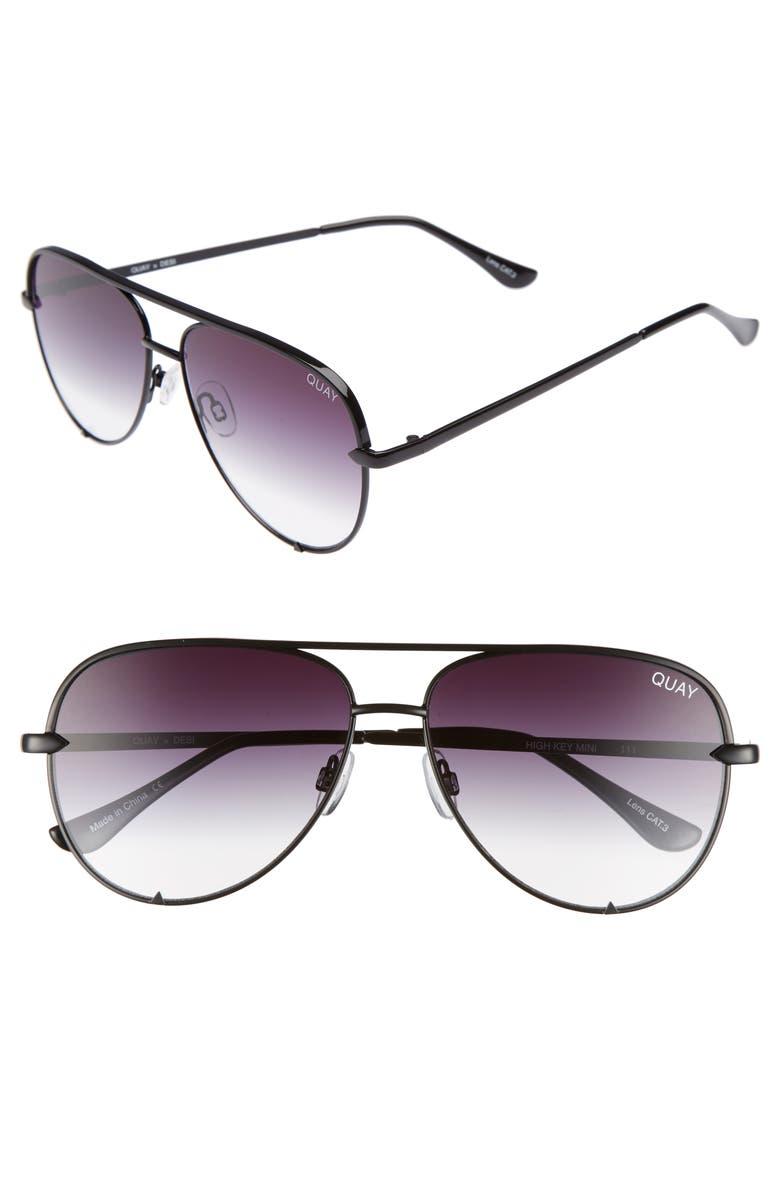QUAY AUSTRALIA High Key Mini 57mm Aviator Sunglasses, Main, color, BLACK/ FADE TO CLEAR