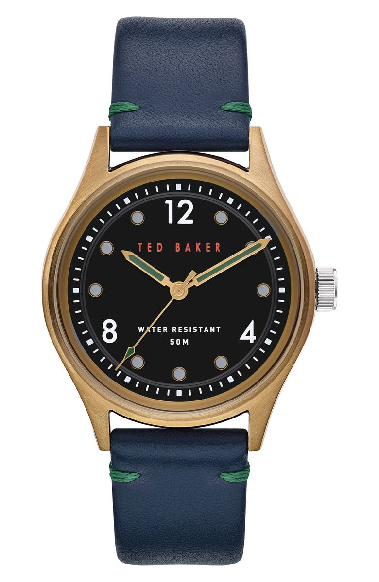 TED BAKER LONDON Beleeni Leather Strap Watch, 40mm, Main, color, 001