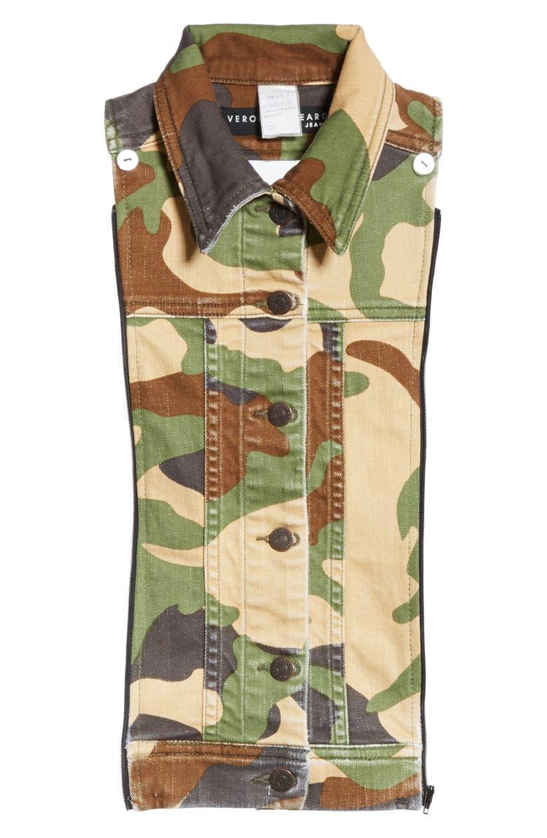 VERONICA BEARD Slate Camouflage Denim Dickey, Main, color, CAMO