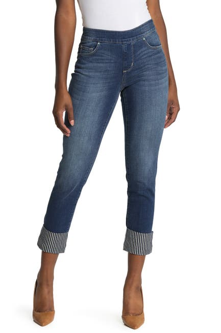 Image of JAG Jeans Lewis Stripe Print Cuff Straight Leg Jeans