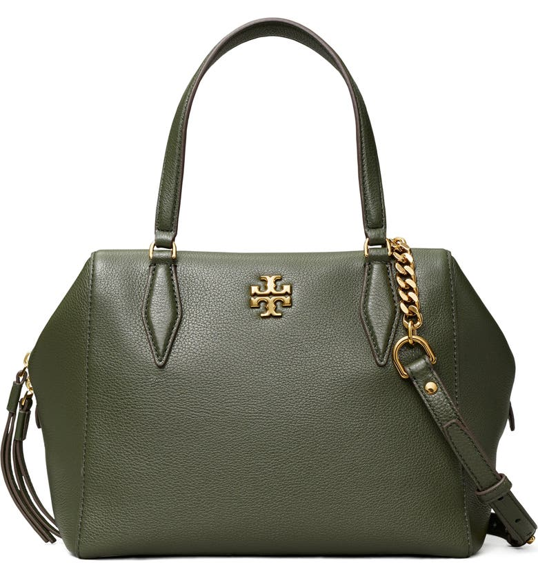 TORY BURCH Kira Pebbled Leather Satchel, Main, color, POBLANO