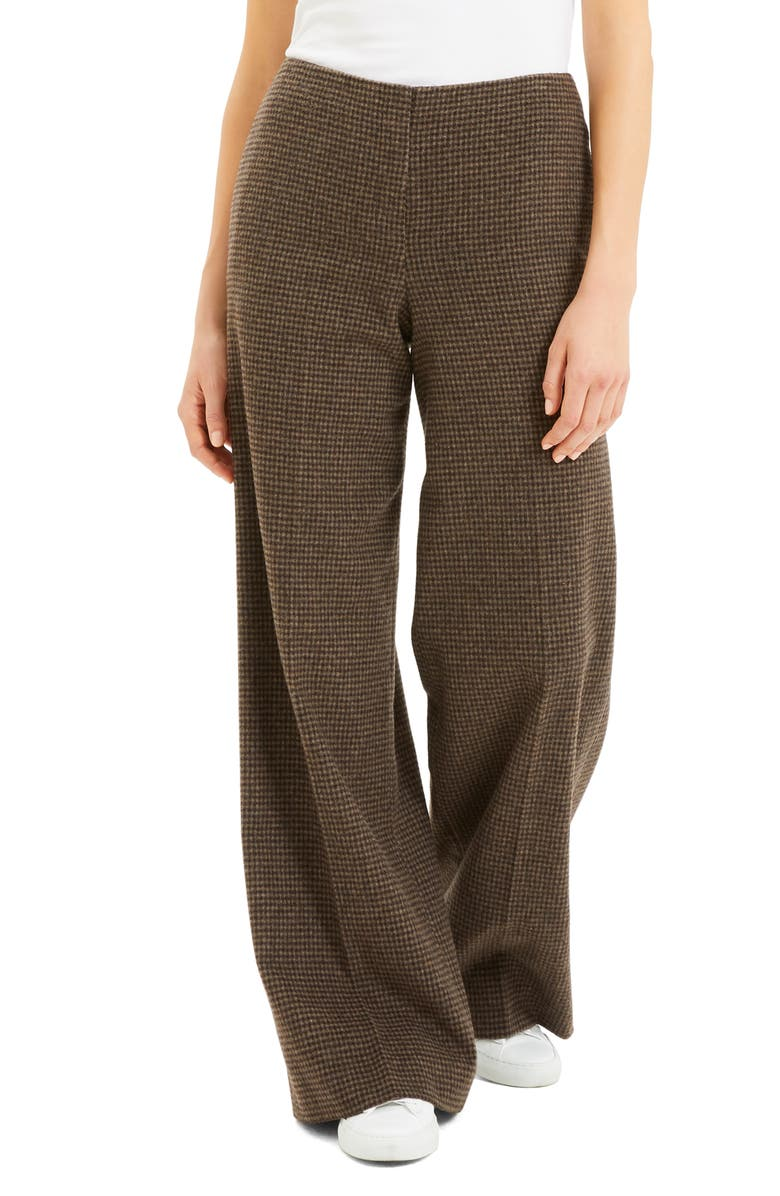 THEORY Houndstooth Wool Blend Flannel Wide Leg Pants, Main, color, 249