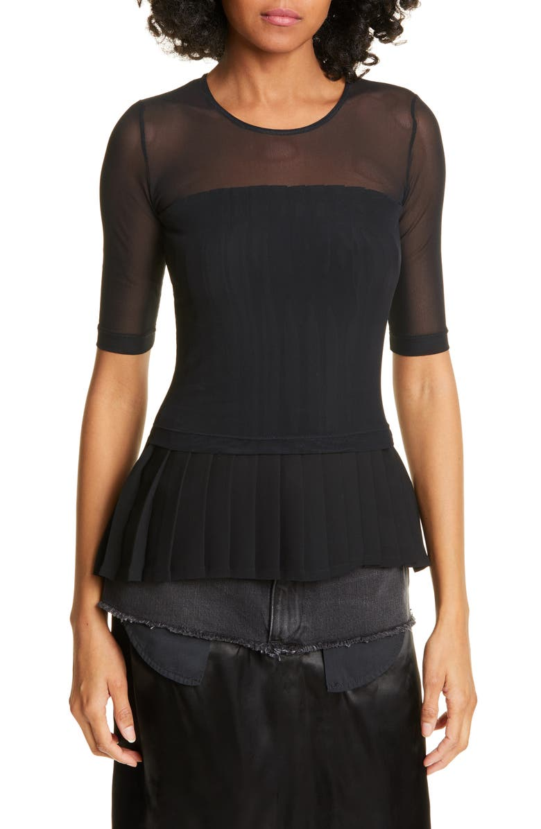 MM6 MAISON MARGIELA Layered Mesh Pleated Peplum Top, Main, color, BLACK AND BLACK