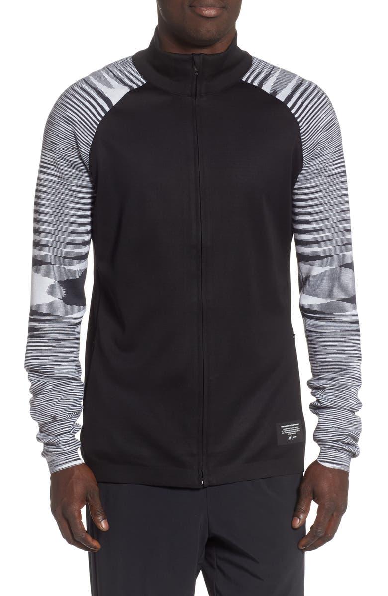 ADIDAS X MISSONI P.H.X. Running Jacket, Main, color, BLACK / DARK GREY / WHITE