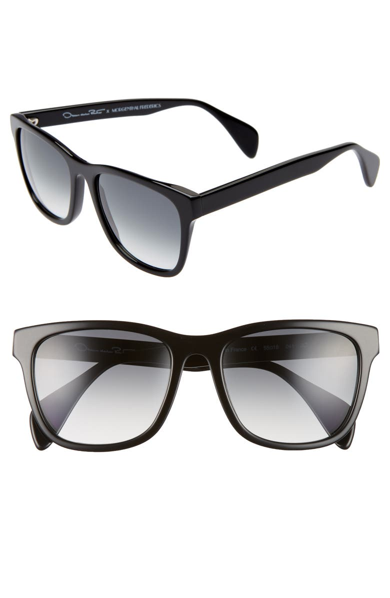 OSCAR DE LA RENTA X MORGENTHAL FREDERICS Jo 55mm Cat Eye Sunglasses, Main, color, BLACK