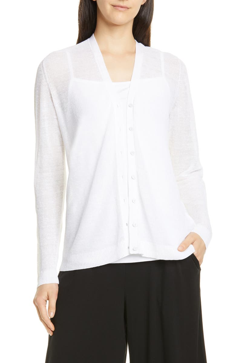EILEEN FISHER V-Neck Cardigan, Main, color, WHITE