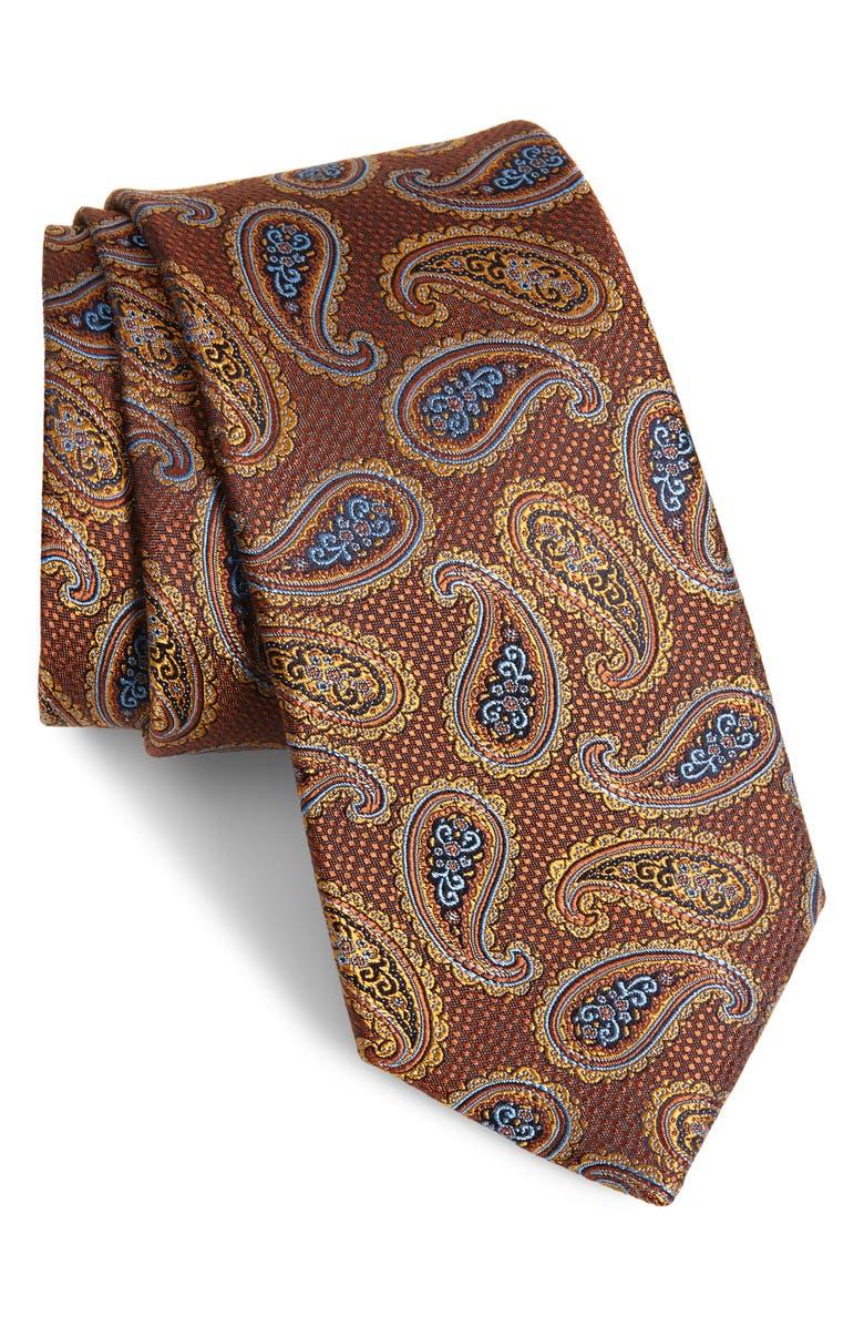 NORDSTROM MEN'S SHOP Jasper Paisley Silk Tie, Main, color, COGNAC