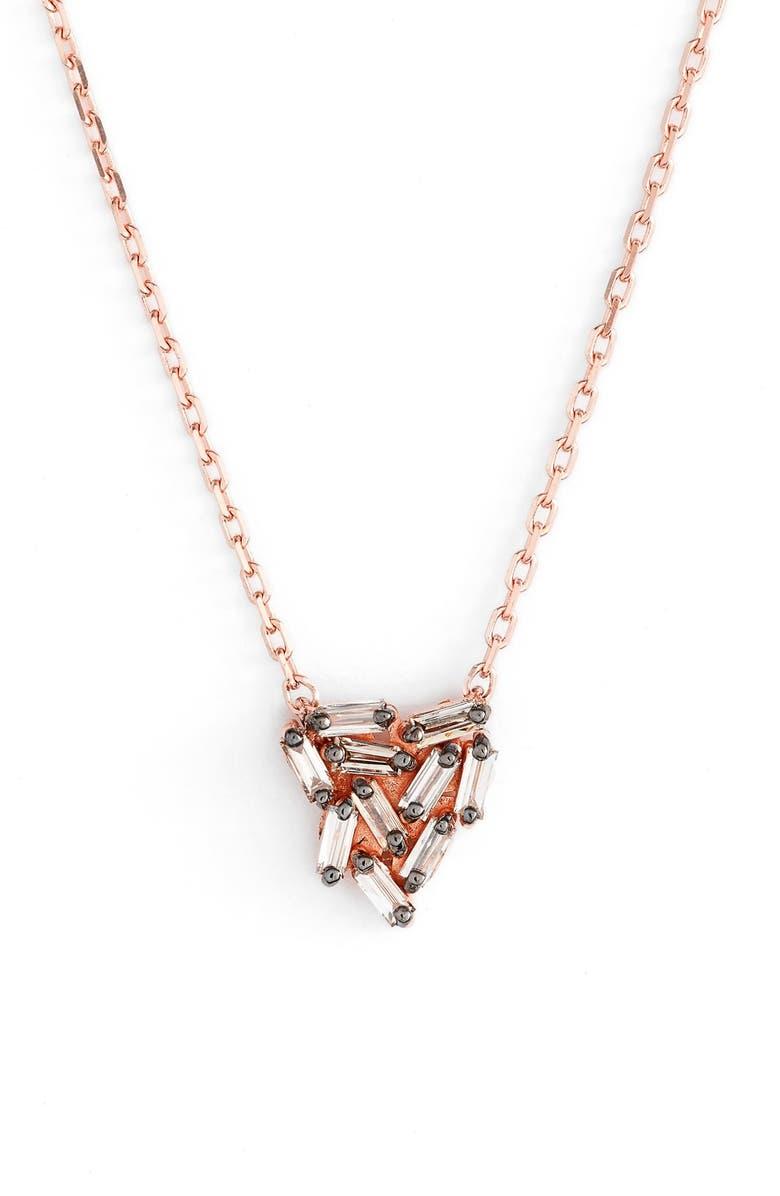 SUZANNE KALAN 'Fireworks' Diamond Baguette Mini Triangle Pendant Necklace, Main, color, ROSE GOLD