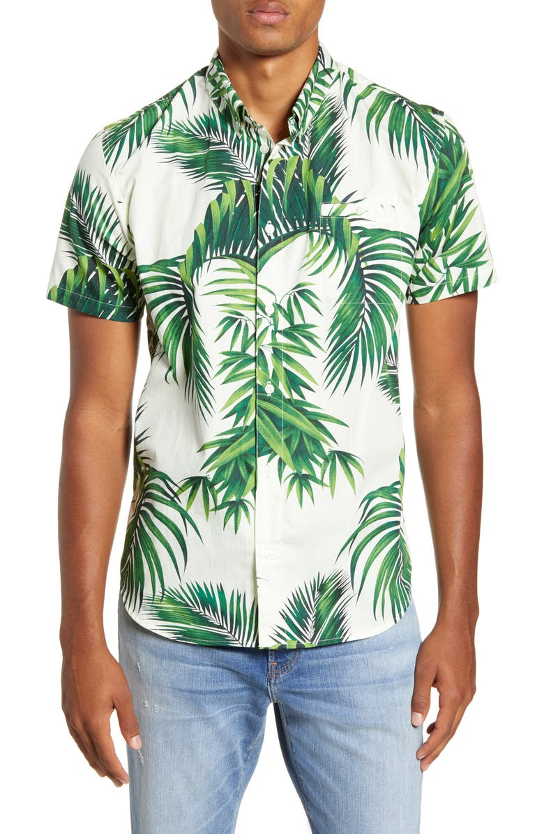 DOG THREADS Havana Palms BBQ Short Sleeve Button-Down Shirt, Main, color, IVORY / GREEN