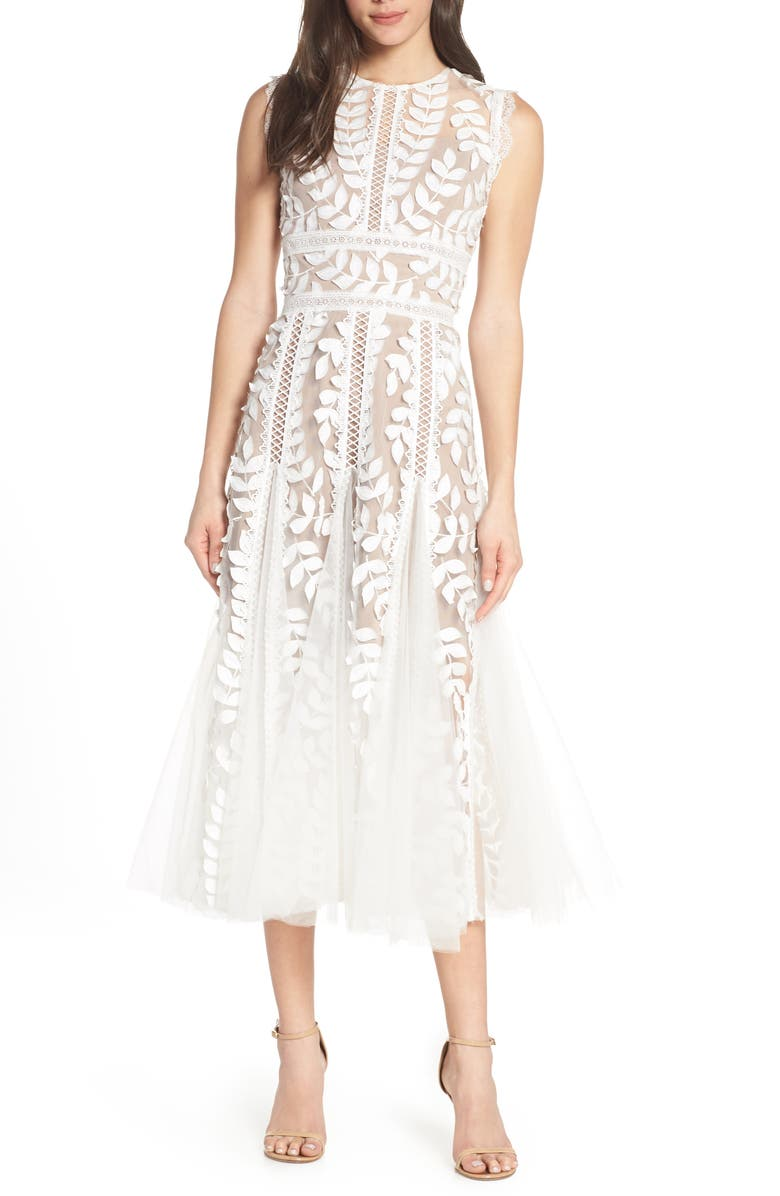 BRONX AND BANCO Saba Leaf Appliqué Lace Midi Dress, Main, color, 100
