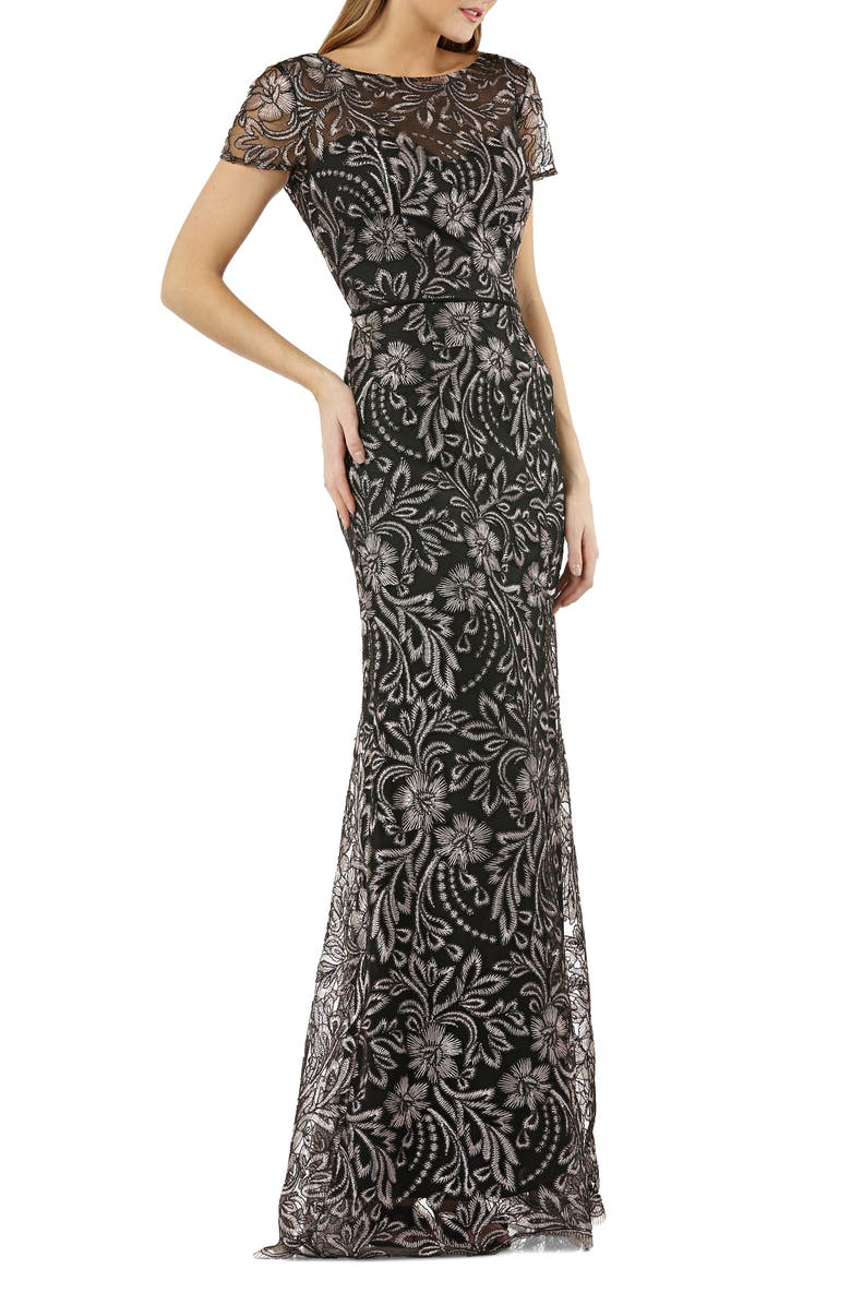 JS COLLECTIONS Embroidered Trumpet Gown, Main, color, 001