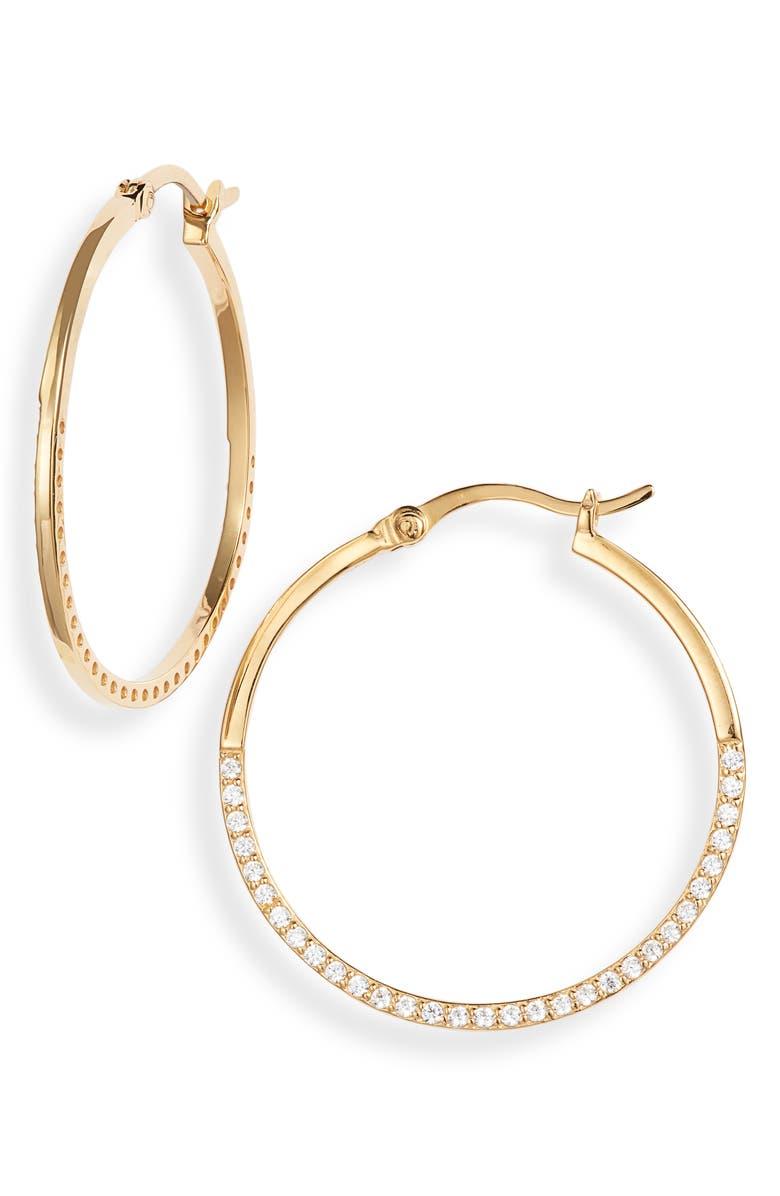 ARGENTO VIVO STERLING SILVER Argento Vivo Half Pavé Hoop Earrings, Main, color, GOLD