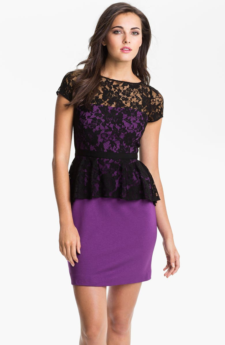 DONNA MORGAN Lace Overlay Peplum Dress, Main, color, 500