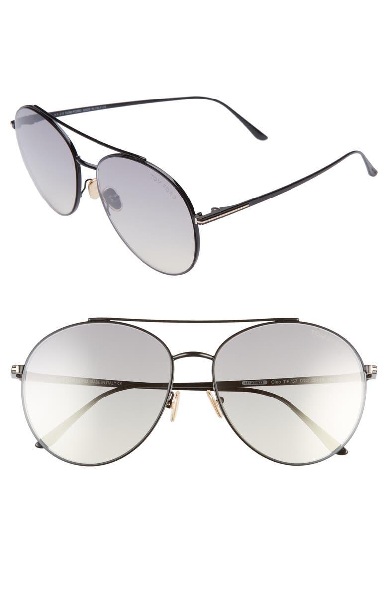 TOM FORD Cleo 59mm Round Aviator Sunglasses, Main, color, SHINY BLACK/ SMOKE MIRROR