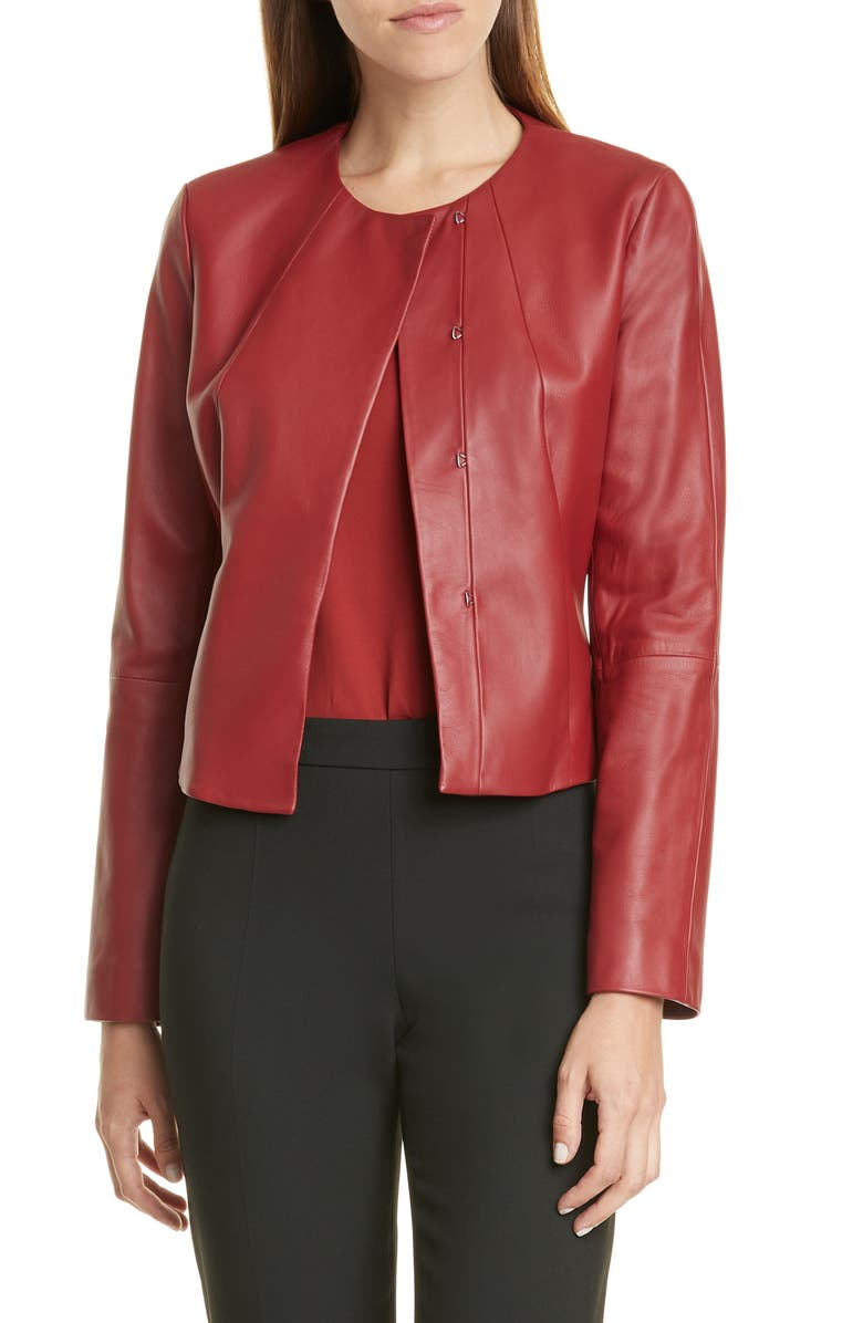 BOSS Sabarbie Crop Leather Jacket, Main, color, RUBY