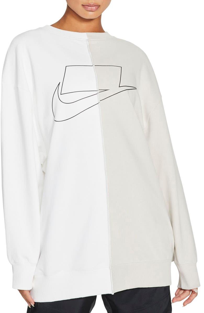 NIKE Swoosh Graphic Oversize Split Sweatshirt, Main, color, LIGHT BONE/ WHITE/ BLACK