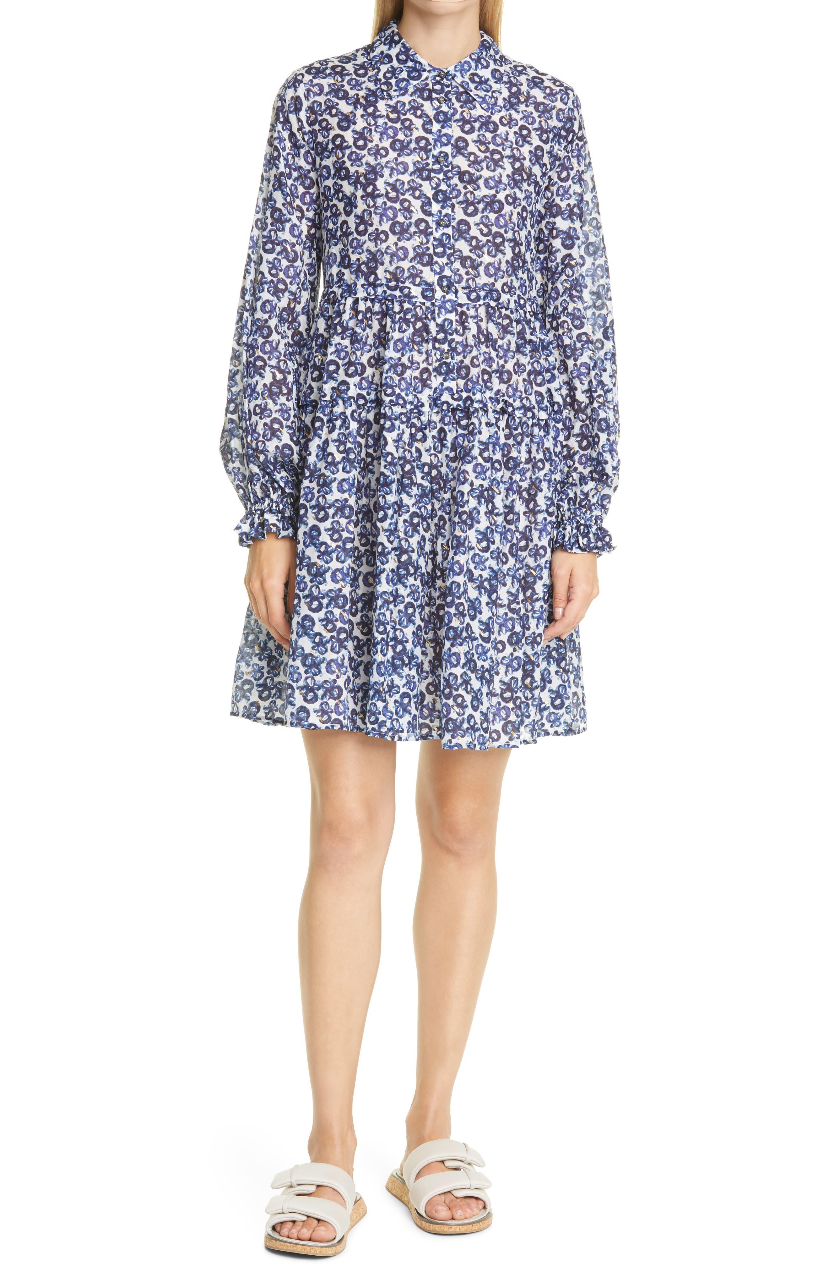 Rita Floral Metallic Dot Long Sleeve Organic Cotton & Silk Mini Shirtdress