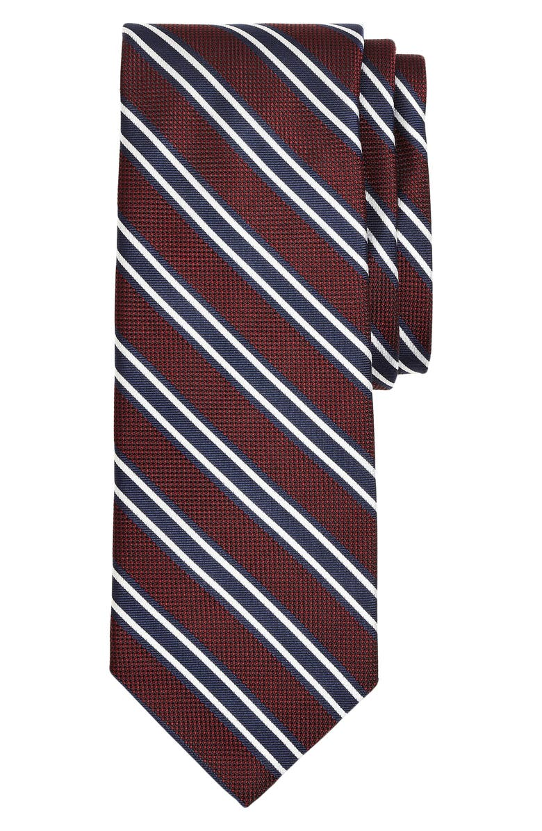BROOKS BROTHERS Stripe Silk Tie, Main, color, DARK RED