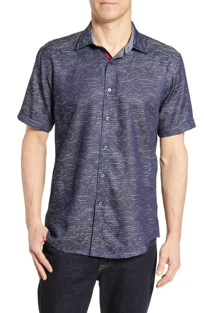 BUGATCHI Shaped Fit Print Cotton Shirt, Main, color, 411