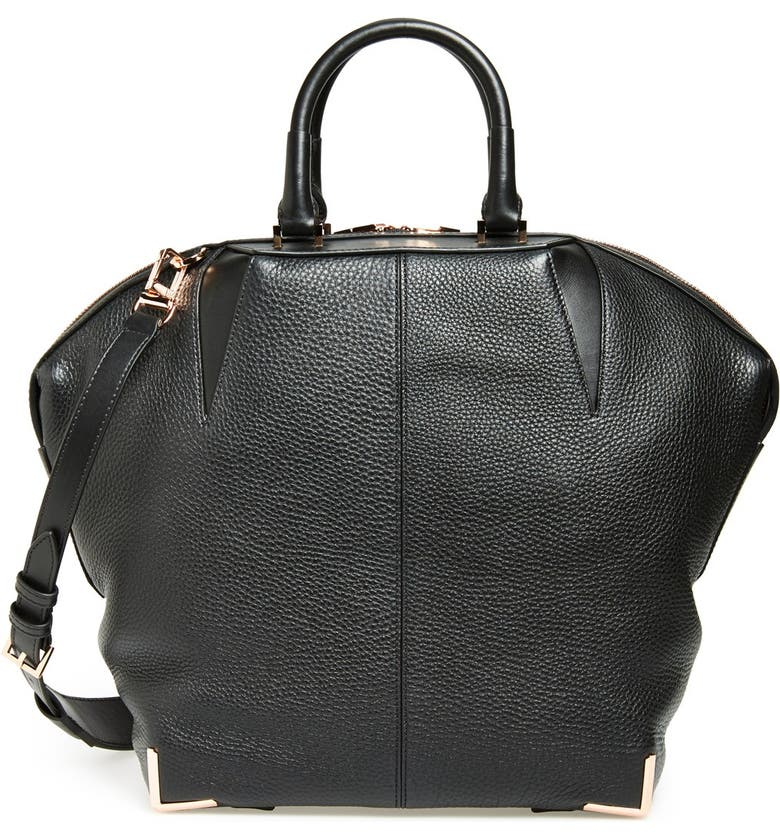 ALEXANDER WANG 'Large Emile' Leather Satchel, Main, color, 001