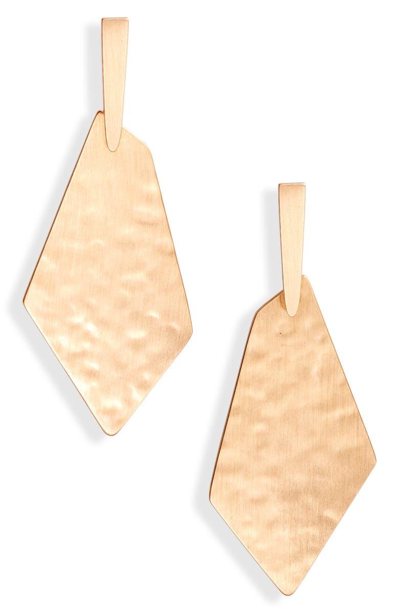 KENDRA SCOTT Gia Drop Earrings, Main, color, ROSE GOLD METAL