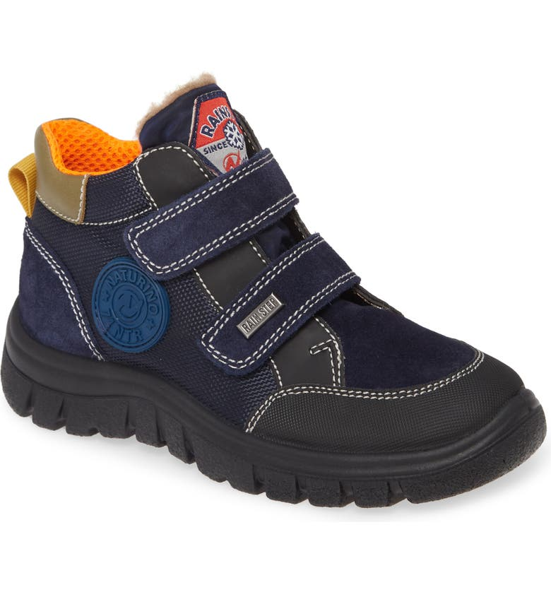 NATURINO Kibo Waterproof Sneaker, Main, color, NAVY MULTI TEXTILE/ SUEDE