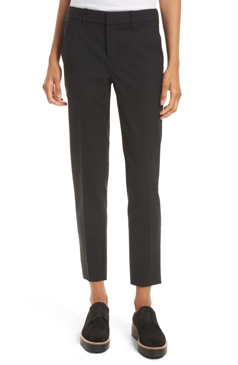 VINCE Crop Stretch Wool Pants, Main, color, 001