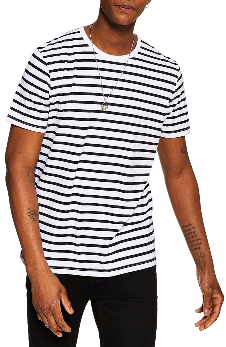 TOPMAN Harry Stripe T-Shirt, Main, color, WHITE MULTI
