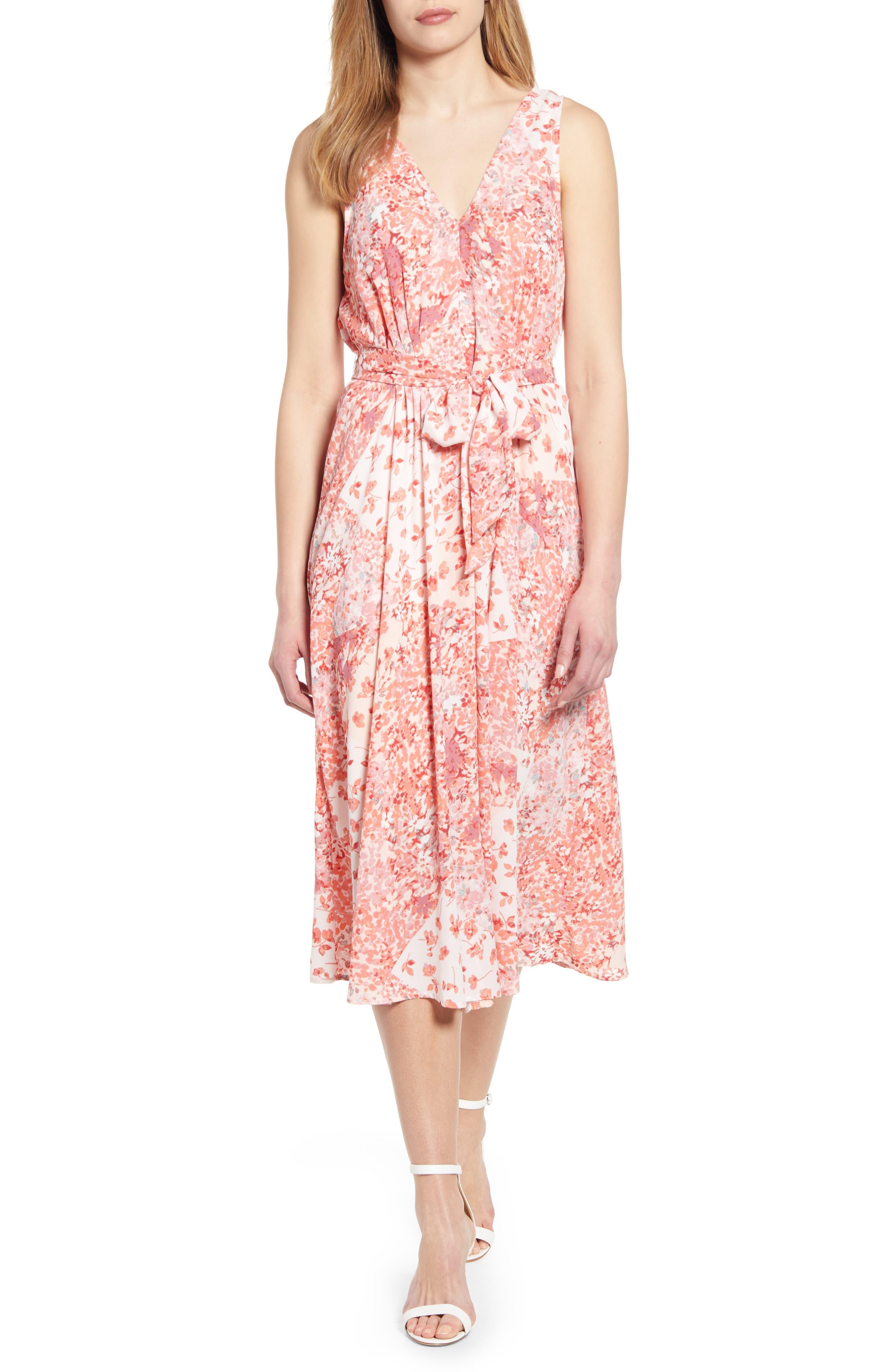 Bobeau Riley V-Neck Pleat Dress, Pink