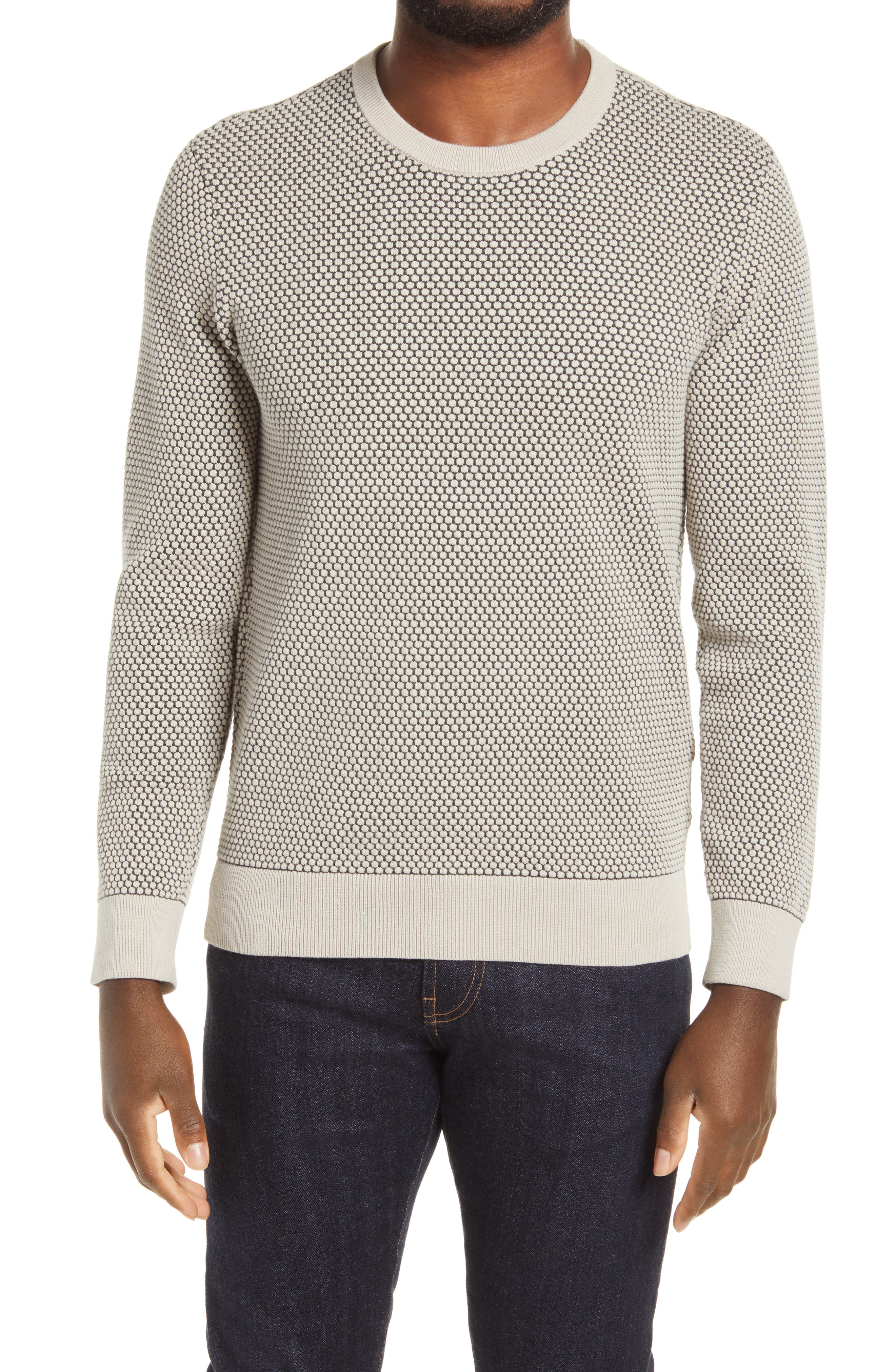 A chunky honeycomb stitch brings distinctive pattern and texture to a sweater framed in thick ribbing with a fit that\\\'s easy to layer and great on its own. Style Name: Club Monaco Men\\\'S Honeycomb Crewneck Sweater. Style Number: 6098986. Available in stores.