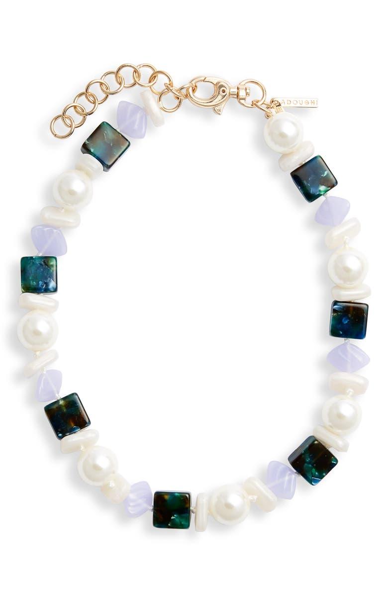 LELE SADOUGHI Mini Stacked Stone Collar Necklace, Main, color, LAUREL GREEN