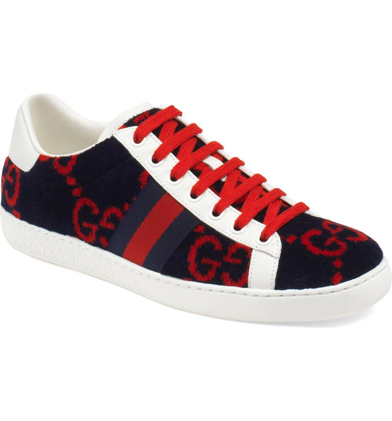 GUCCI New Ace Logo Sneaker, Main, color, BLUE/ RED