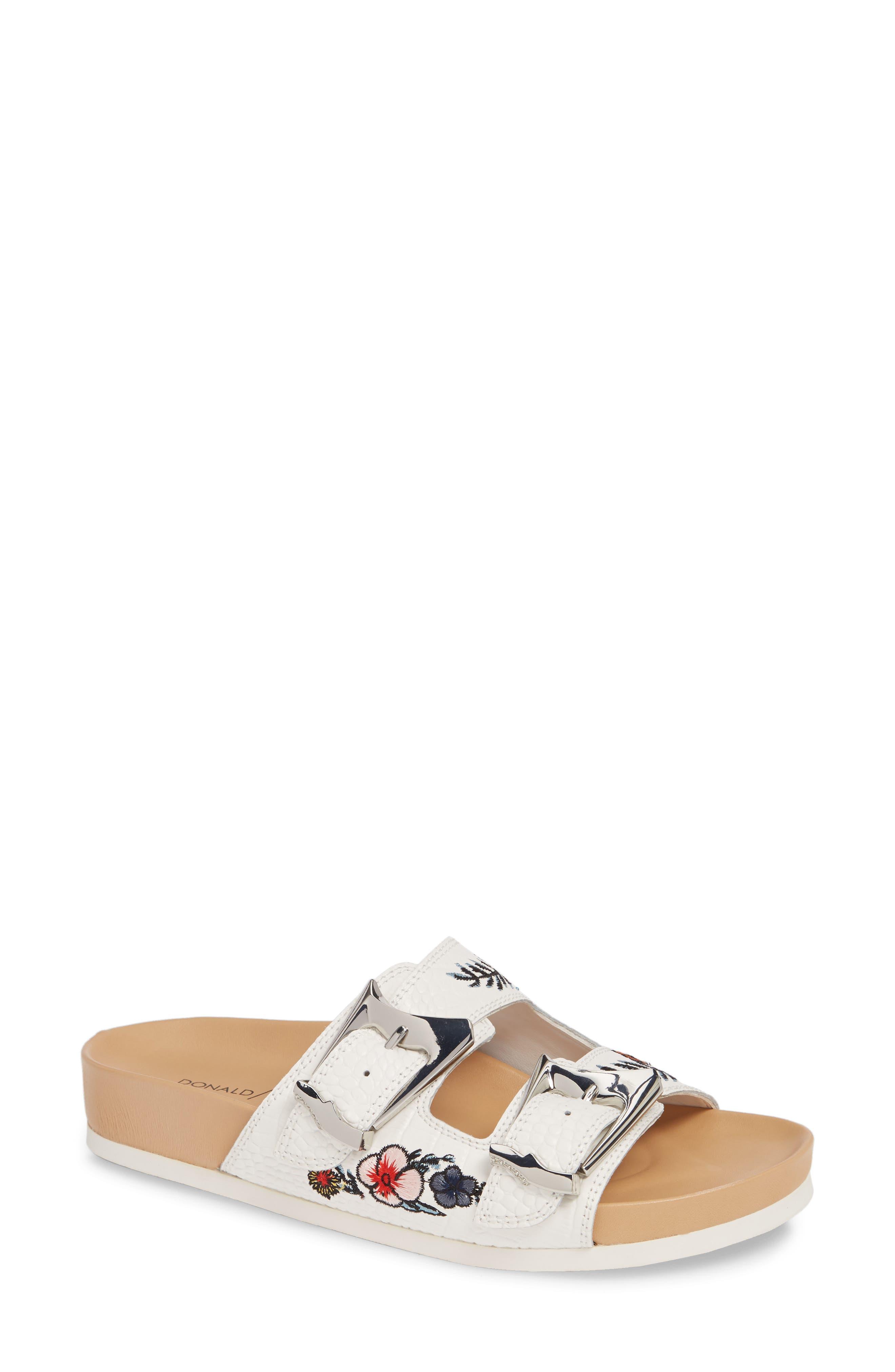 ,                             Baylie Embroidered Slide Sandal,                             Main thumbnail 1, color,                             WHITE