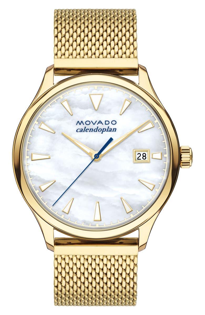 Movado Heritage Calendoplan Mesh Strap Watch 36mm