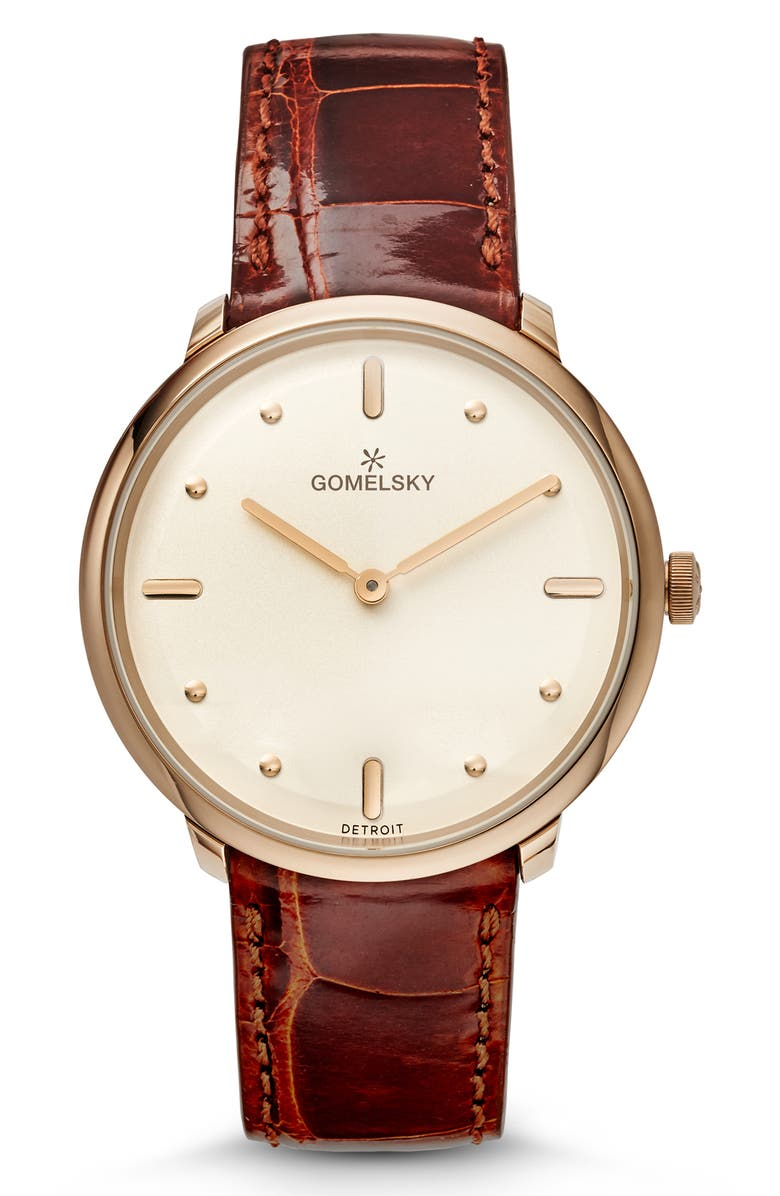 GOMELSKY The Lois Alligator Strap Watch, 36mm, Main, color, 200
