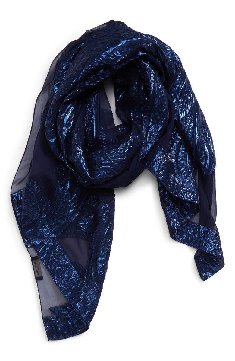 ETRO Tassel Jacquard Silk Blend Scarf, Main, color, NAVY