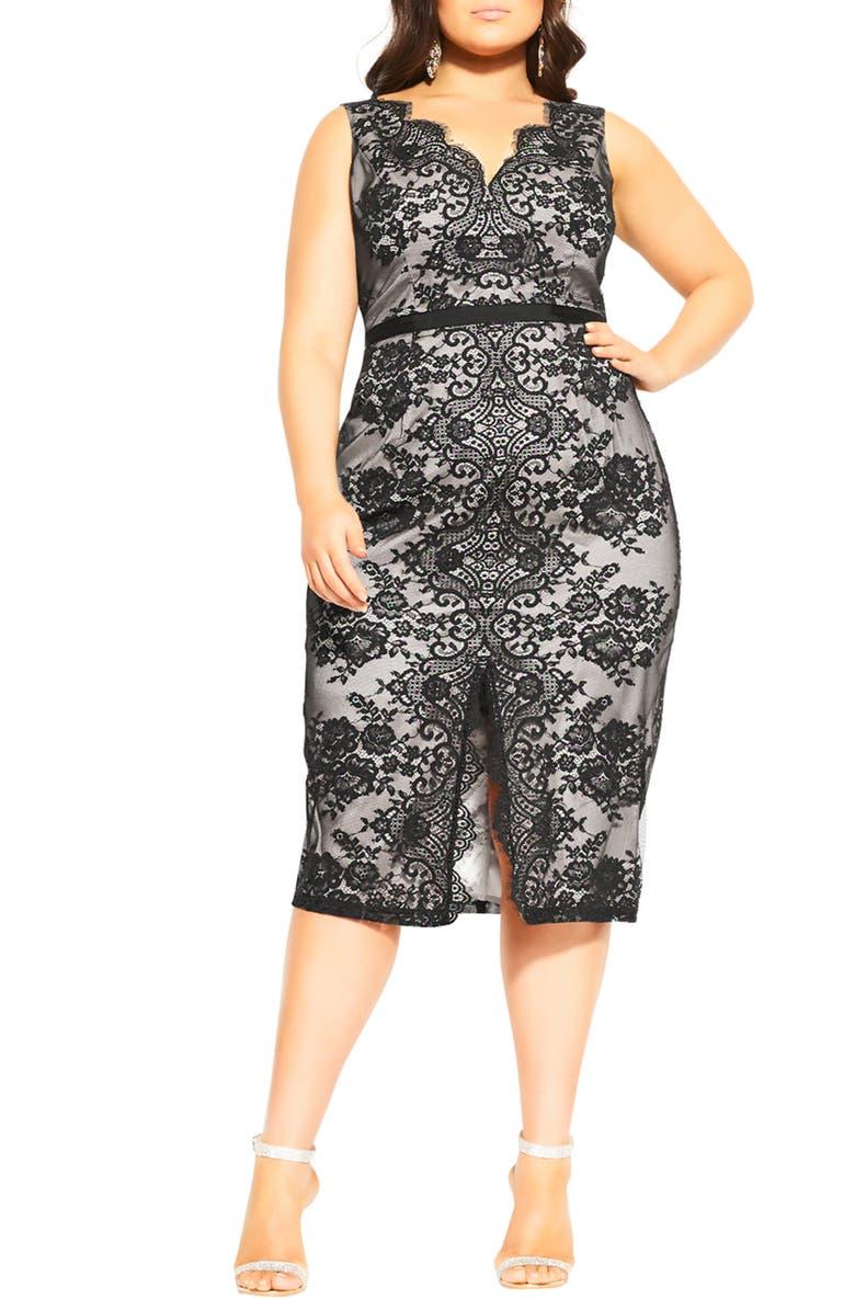 CITY CHIC Romantic Lace Sleeveless Sheath Dress, Main, color, BLACK