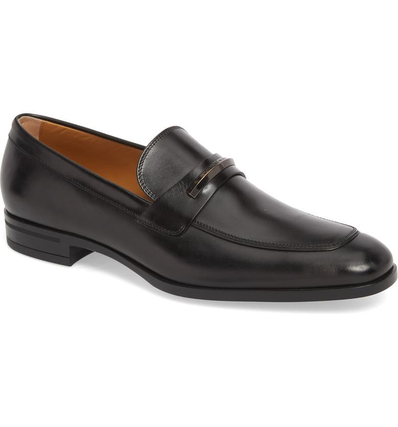 BOSS Portland Solid Bit Loafer, Main, color, BLACK LEATHER