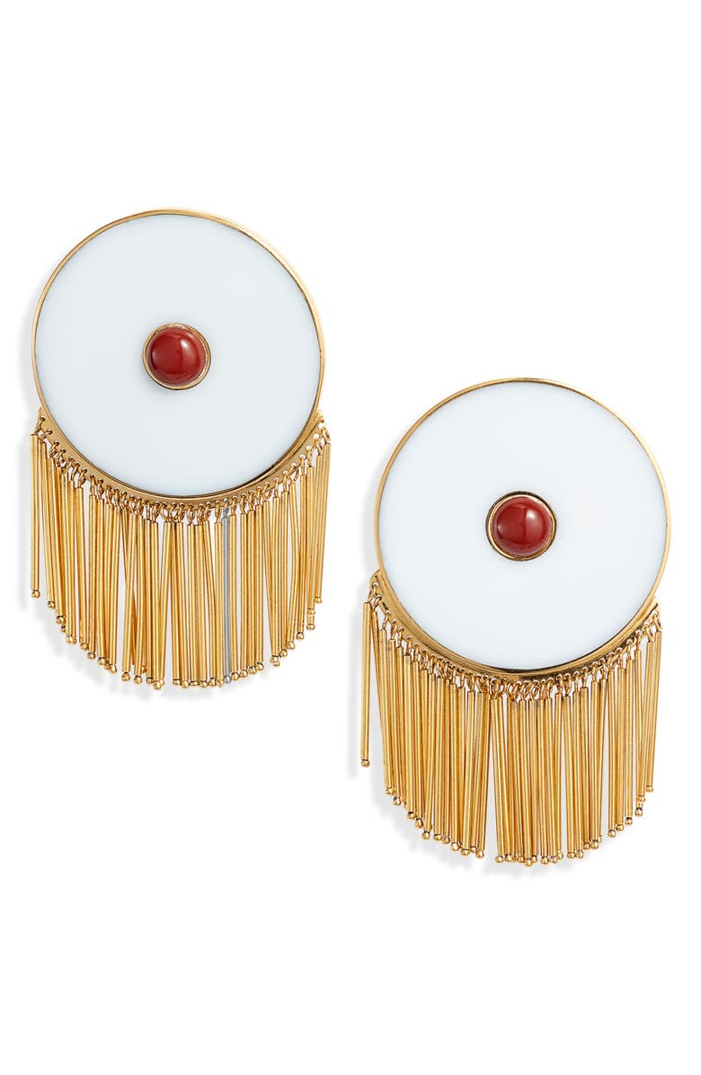 MONICA SORDO Lluvia Earrings, Main, color, WHITE ARAGONITE/ RED JASPER