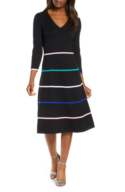 Eliza J Stripe V-neck Sweater Dress In Black
